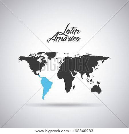 world map with latin america map in blue color icon over white background. vector illustration