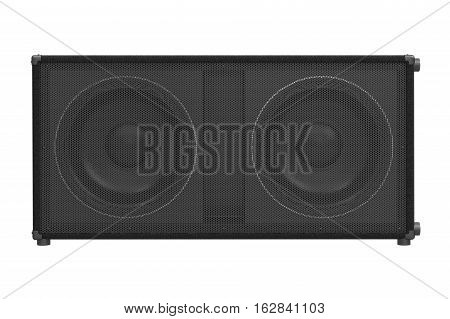 Speaker audio loud black professional electronic, front view. 3D rendering