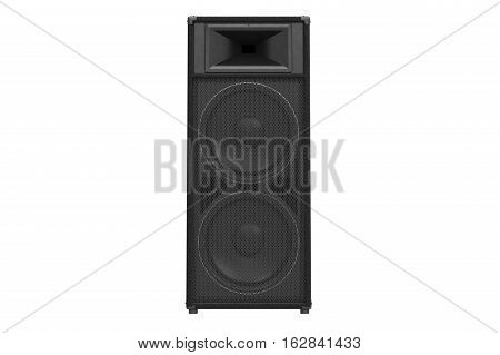 Speaker audio loud system black modern, front view. 3D rendering