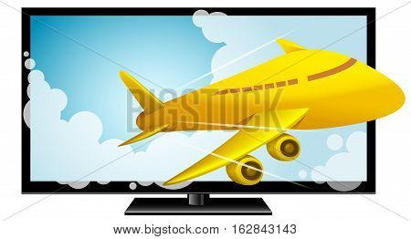 Vector Illustration of 3D Television. Best for Electronics, Technology, Computers, Broadcasting, Film concept.