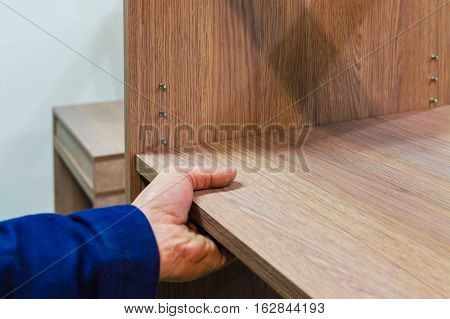 assembly of furniture and equipment Shelf panel for racial segregation shelves
