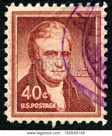UNITED STATES OF AMERICA - CIRCA 1955: A used postage stamp from the USA depicting a portrait of judge and Chief Justice of the Supreme Court John Marshall circa 1955.