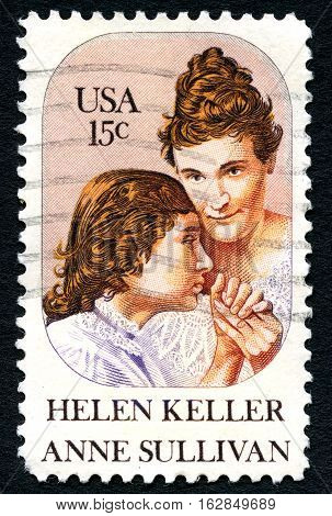 UNITED STATES OF AMERICA - CIRCA 1980: A used postage stamp from the USA commemorating the lives of Helen Keller and Anne Sullivan circa 1980.