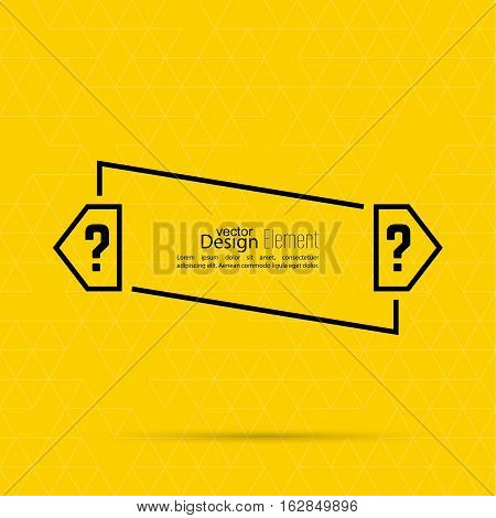 Question mark blank template. Help symbol. FAQ sign icon. Empty vector form.  information, text box, textbox on yellow background. Speech Bubbles.