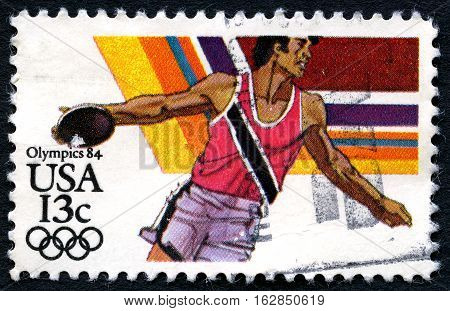 UNITED STATES OF AMERICA - CIRCA 1984: A used postage stamp from the USA depicting an illustration of the Discus sport event and promoting the 1984 Olympic Games circa 1984.