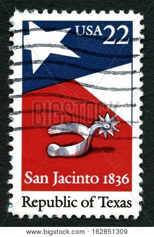 UNITED STATES OF AMERICA - CIRCA 1986: A used postage stamp from the USA commemorating the Battle of San Jacinto fought on April 21 1836 - the decisive battle of the Texas Revolution circa 1986.