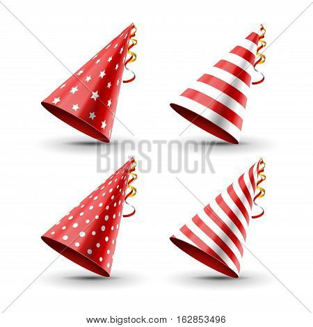 Party hat set isolated on a white. Birthday hat set. Vector fun decoration. Colorful surprise costume.