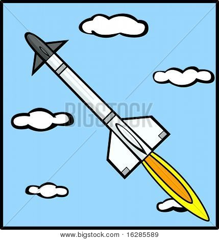 rocket missile flying in the sky