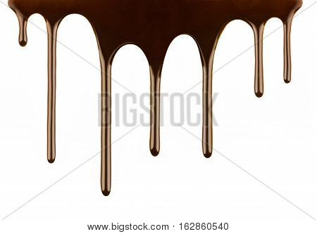 Melted chocolate dripping a on white background