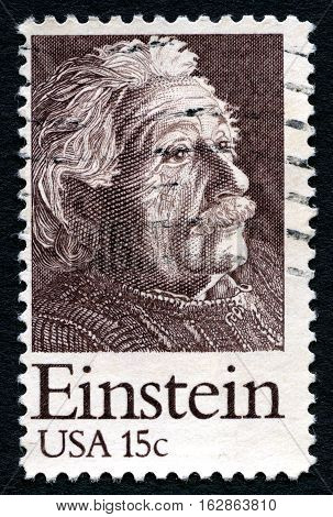 UNITED STATES OF AMERICA - CIRCA 1979: A used postage stamp from the USA depicting a portrait of famous Physicist Albert Einstein circa 1979.
