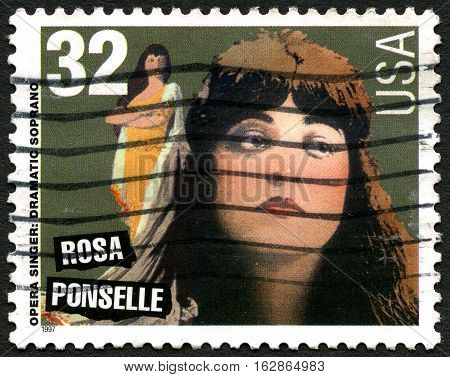 UNITED STATES OF AMERICA - CIRCA 1997: A used postage stamp from the USA commemorating famous Opera Singer Rosa Ponselle circa 1997.