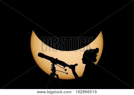 Woman With Telescope Safe Solar Eclipse Observation