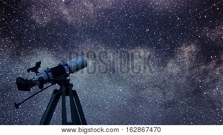 Astronomical Telescope Constellation Aquila In The Night Sky. Eagle Constellation