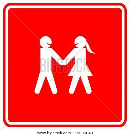man and woman taking hands sign