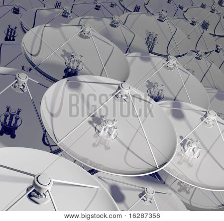 Satellite antennas. 3d