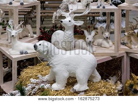 Christmas figurine polar bear deer and fawn.