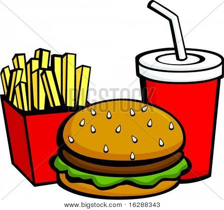 burger fries and beverage
