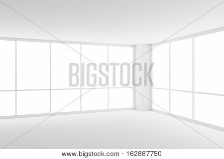 Business architecture white colorless office room interior - two large windows in corner of empty white business office room with white floor ceiling walls and empty space 3d illustration
