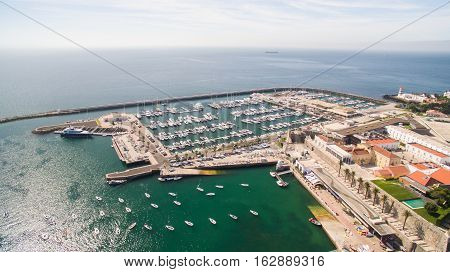 Lighthouse and marina of Cascais Portugal aerial
