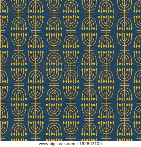 Hanukkah seamless pattern. Hanukkah simbols. Hanukkah candles, menorah. Vector illustration for jewish holiday Hanukkah.