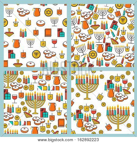 Hanukkah seamless pattern collection. Hanukkah simbols. Hanukkah candles, menorah, sufganiot and dreidel. Vector illustration for jewish holiday Hanukkah.