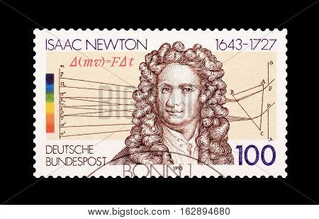 GERMANY - CIRCA 1993 : Cancelled postage stamp printed by Germany, that shows Isaac Newton.