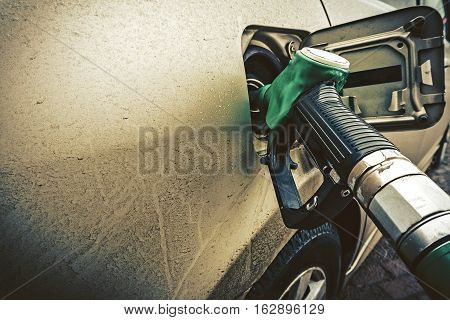 car refuel. close up of a gas station. copyspace for text. petrol oil concept