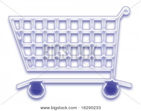 shopping cart symbol in shiny glass or plastic