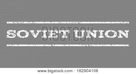 Soviet Union watermark stamp. Text tag between horizontal parallel lines with grunge design style. Rubber seal stamp with dust texture. Vector white color ink imprint on a gray background.