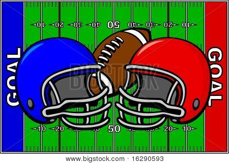 football design with field and team helmets