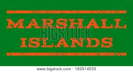 Marshall Islands watermark stamp. Text caption between horizontal parallel lines with grunge design style. Rubber seal stamp with dirty texture. Vector orange color ink imprint on a green background.