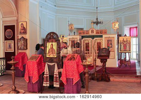 Gatchina, Russia - 3 December, Altar of the Church of the Gatchina Palace, 3 December, 2016. Visit the Museum Reserve Gatchina Palace.