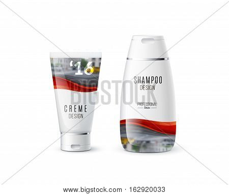 Abstract body care cosmetic brand concept. Cream, shampoo packaging. Realistic vector identity set template with soft waves, smooth shapes for beauty, medicine, healthcare.