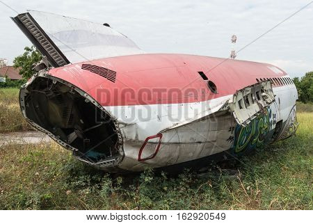 Plane Fuselage Wreckage Sitting On The Ground