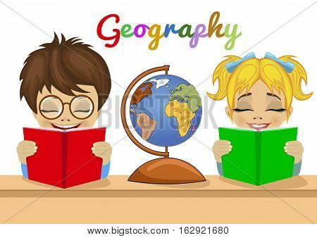 preschool kids studying geography together reading books with an explorer globe