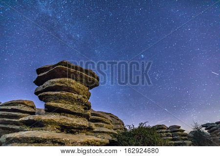 Schistous rock on the starry sky background at night in El Torcal de Antequera natural park Andalusia Spain