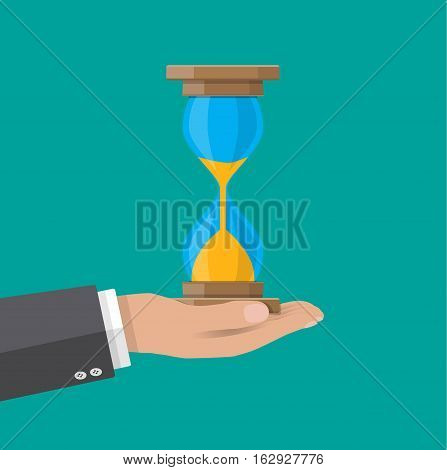 Human hand holds old style hourglass clocks with sand. Time management. vector illustration in flat style