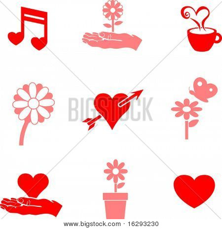 hearts and flowers valentine symbols mini set 2