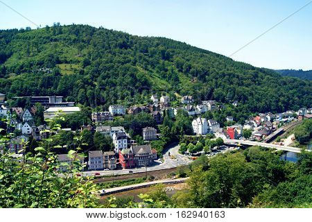 Top view of the small German town of Altena in North Rhine-Westphalia