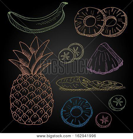 Set hand-drawn food ingredients on chalkboard. Hand drawn vector illustration. Set with elements fruit, pineapple, banana, peeled banana slices, pineapple slices.