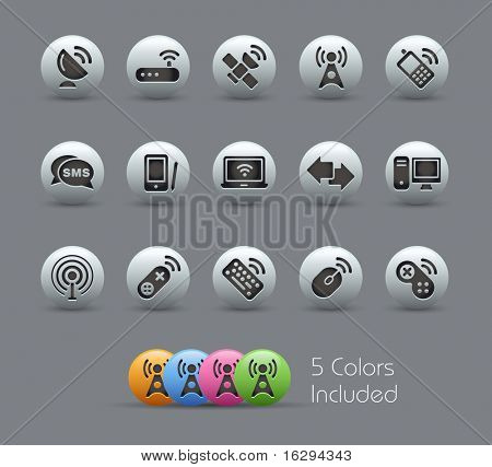 Wireless & Communications // Pearly Series -------It includes 5 color versions for each icon in different layers ---------