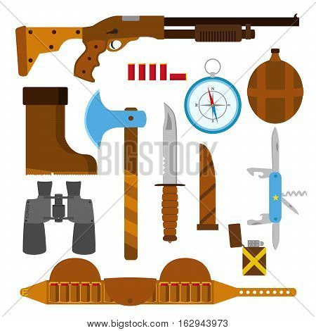Hunting icons flat set with knife, axe, shotgun, case, lighter, pen-knife, compass, shell, bullets binoculars bottle and boots isolated vector illustration