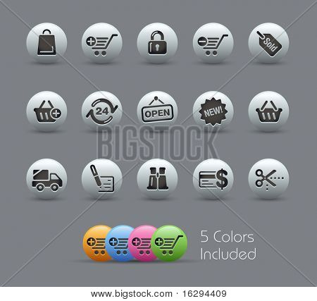 Shopping Icons // Pearly Series -------It includes 5 color versions for each icon in different layers ---------