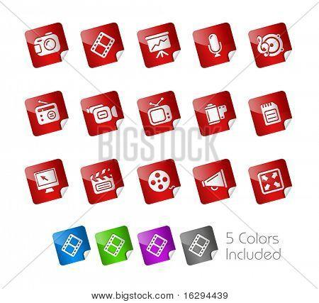 Multimedia / / série de adesivos---inclui 5 versões de cor para cada ícone em diferentes camadas