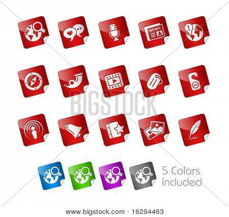 Social Media // Stickers Series -------It includes 5 color versions for each icon in different layers ---------