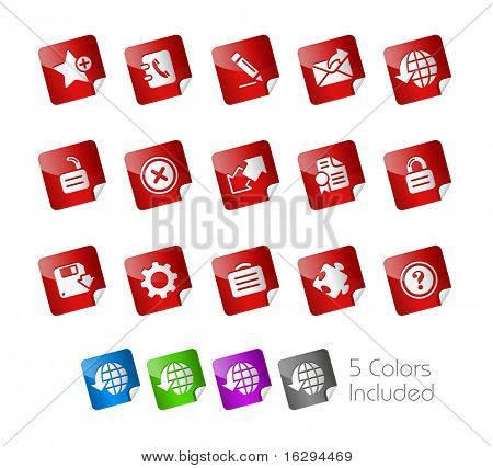 Web 2.0 Icons // Stickers Series -------It includes 5 color versions for each icon in different layers ---------
