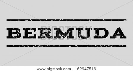 Bermuda watermark stamp. Text caption between horizontal parallel lines with grunge design style. Rubber seal stamp with scratched texture. Vector black color ink imprint on a light gray background.