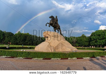Monument to Peter the Great (1782), known as The Bronze Horseman, St. Petersburg. Petro Primo Catharina Secunda means for Peter the First from Catherine the Secoiond