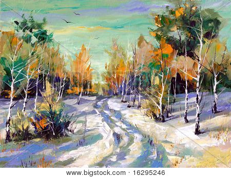 The winter landscape executed by oil on a canvas
