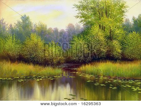 Spring wood lake with trees and bushes